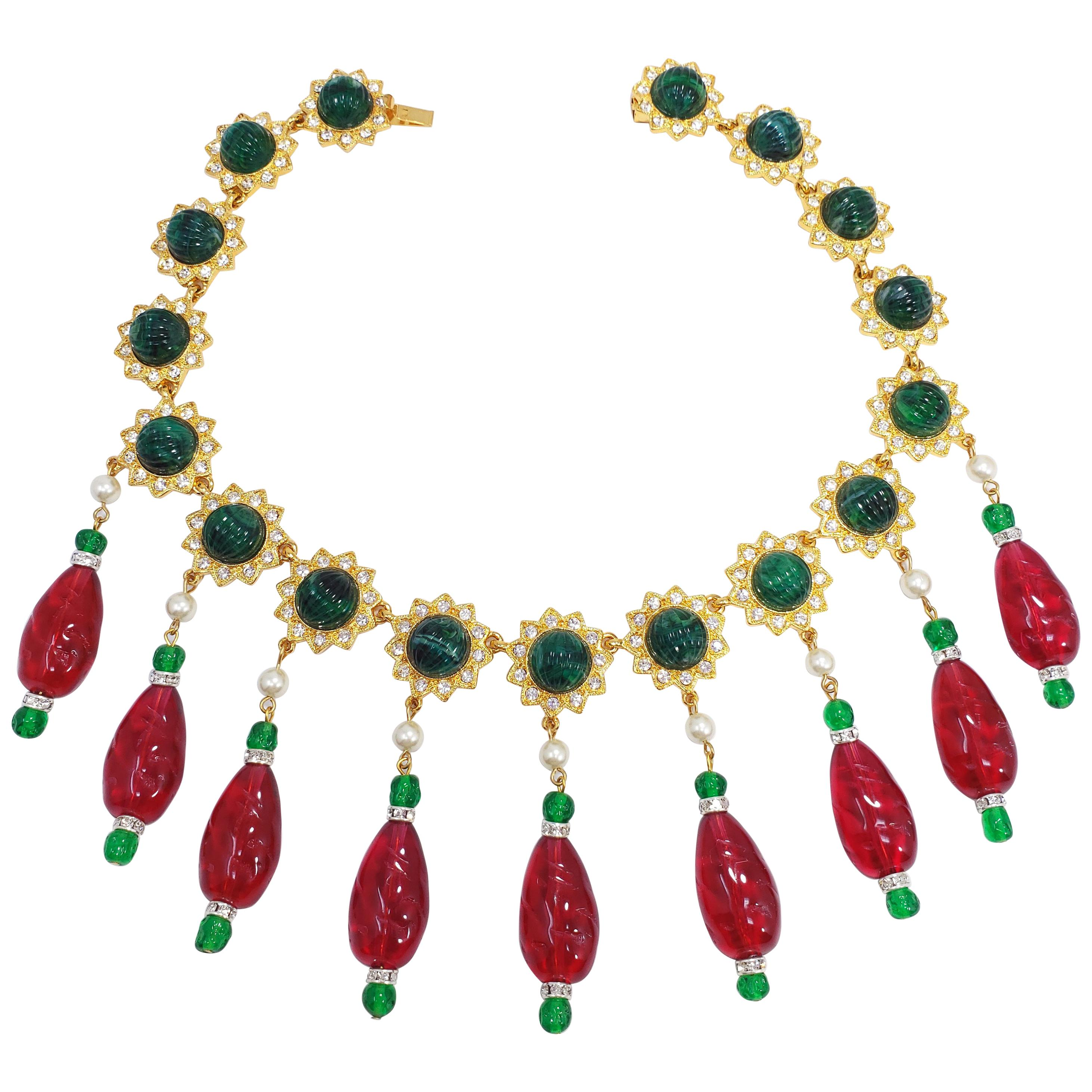 106ec26a48682 KJL Kenneth Jay Lane Red and Green Drop Accents Necklace w Faux Pearls,  Crystals