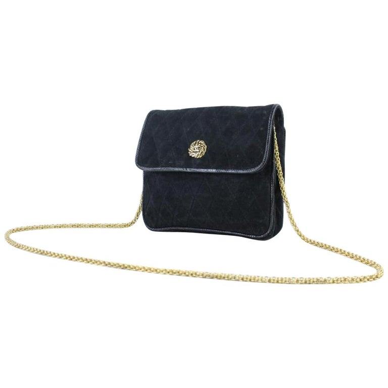 bf16c132af3c Chanel Quilted X Lizard Mini Flap 216018 Black Suede Leather Shoulder Bag  For Sale