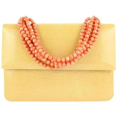 Coral Neackle Lizard 8mt920 Yellow Leather Wristlet