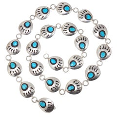 Native American Bear Claw Link Sterling Silver Turquoise Concho Belt