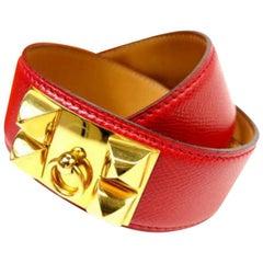 Hermès Medor Rouge Collier De Chien Belt Cdc223128 Red Leather Cross Body Bag