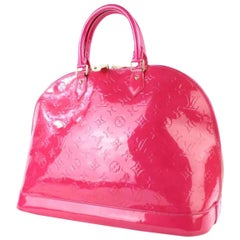 Louis Vuitton Alma Rose Pop Monogram Vernis Gm 3lt922 Pink Patent Leather Satche