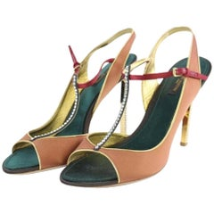 Louis Vuitton Brown X Green Runway Front T-strap Crystal Heels 3lt927 Pumps