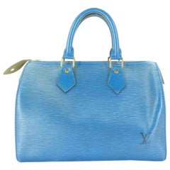 Louis Vuitton Speedy Epi 25 221825 Toledo Blue Leather Satchel