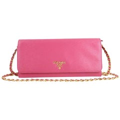 Prada Saffiano Metal Wallet On Chain Clutch 4pt916 Pink Leather Cross Body Bag