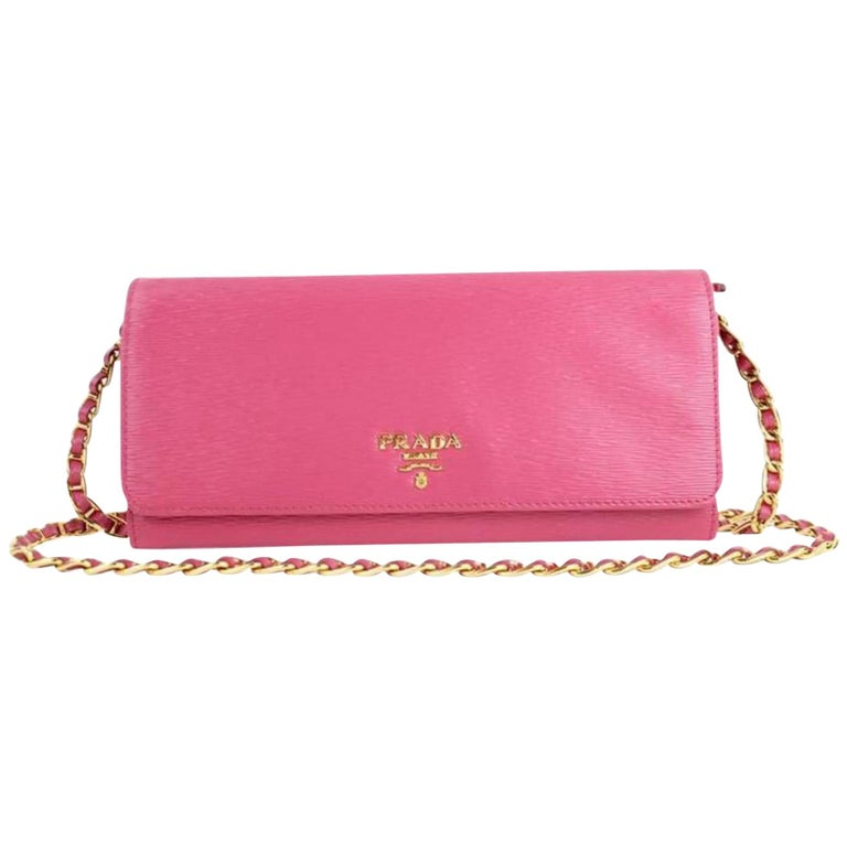 15090746099968 Prada Saffiano Metal Wallet On Chain Clutch 4pt916 Pink Leather Cross Body  Bag For Sale.