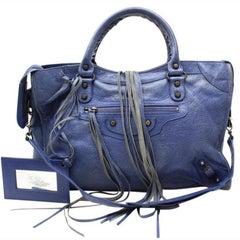 Balenciaga The City 2way 1999326 Blue Leather Satchel