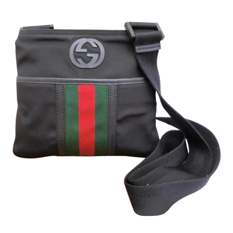 39a9b66669b Gucci Sherry Parana Interlocking Logo Web 231152 Black Canvas Cross Body Bag  For Sale