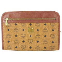 MCM Brown Cognac Monogram Visetos Zip Pouch Clutch 231206 Wallet