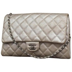 Chanel Clutch Classic Flap Quilted Jumbo Chain 231197 Silver Leather Shoulder Ba