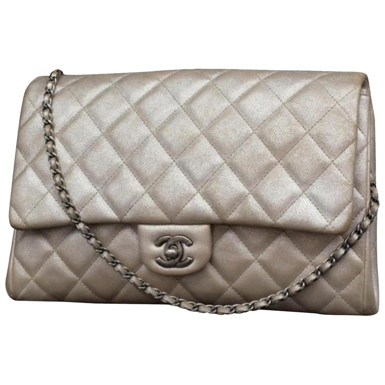 91aaa17646ae Chanel Clutch Classic Flap Quilted Jumbo Chain 231197 Silver Leather  Shoulder Ba For Sale
