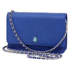 Chanel Wallet on Chain Classic Flap Caviar 231222 Blue Leather Cross Body  Bag 1d62d1352bedc