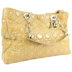 Dior Cannage Quilted Soft Shopping 25cd915c Beige Patent Leather Tote