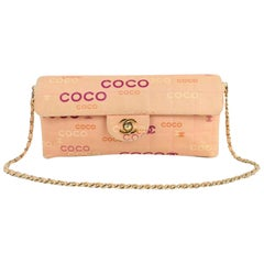 Chanel East West Chocolate Bar Quilted Coco Flap 3ct915 Pink Canvas Shoulder Bag