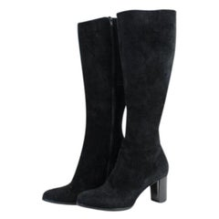 Christian Louboutin Black Suede Tall Zip 27clt916 Boots/Booties