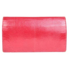 Hermès Red Lizard Fleming Long Agenda 221071 Wallet