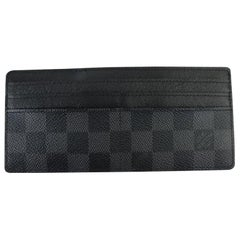 Louis Vuitton Black Damier Graphite Long Card Holder 99lt9 Wallet