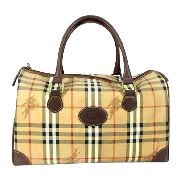 6198ec922a00 Burberry Nova Check Boston Duffle 231129 Brown Coated Canvas Satchel For  Sale at 1stdibs