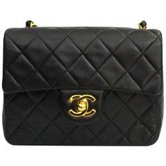 90s Chanel Black Leather Mini Flap Bag
