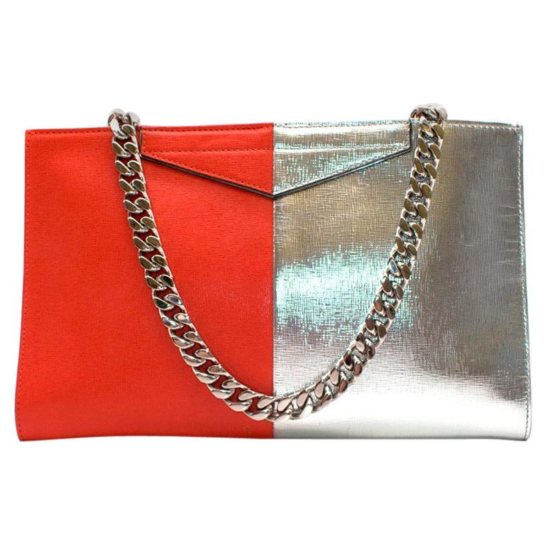 cf83a36624 Fendi Two-tone red and silver leather clutch For Sale at 1stdibs