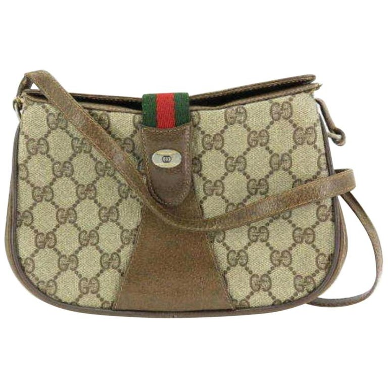 1b26da6eefb Gucci Monogram Supreme 233801 Brown Coated Canvas Cross Body Bag For Sale