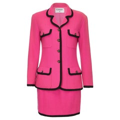 Chanel 1980s or early 1990s Fuschia Pink Wool Skirt Jacket Suit