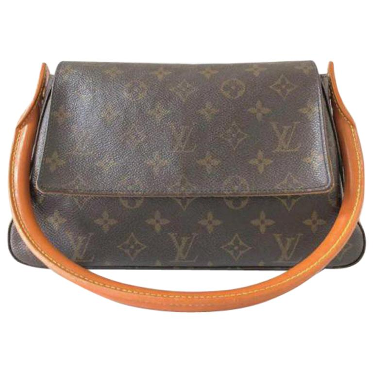 257360ab7327 Louis Vuitton Looping Monogram Mini Pm 232084 Brown Coated Canvas Shoulder  Bag For Sale