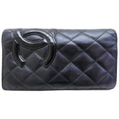 Chanel Cambon Quilted Lambskin Ligne Yen Bifold Long Wallet 233090 Clutch