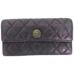 Chanel Classic Flap Iridescent Blue-purple Long Wallet 230784 Cotton Clutch