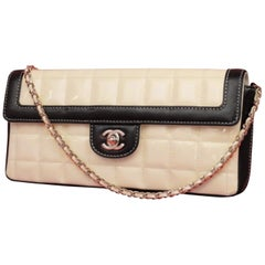 8c40d68a0374d4 Chanel East West Bicolor Quilted Chocolate Bar Chain Flap 230505 Shoulder  Bag
