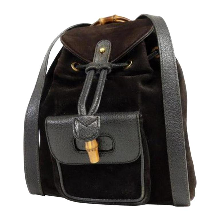 cf115142648 Gucci Bamboo 232896 Black Suede Leather Backpack For Sale at 1stdibs