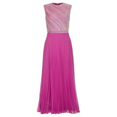 Hannalore of London 1960s Pink Silk Chiffon Sequined Pleated Dress