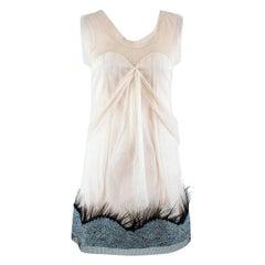 Rochas Silk-blend Sequin & Feather Embellished Hem Dress US 4