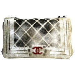 CHANEL Painted Canvas Graffiti Boy Flap Beige