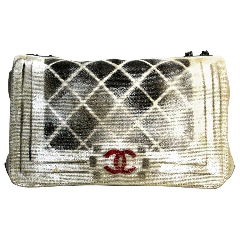 8fed6cd6e6ae11 CHANEL Painted Canvas Graffiti Boy Flap Beige For Sale at 1stdibs