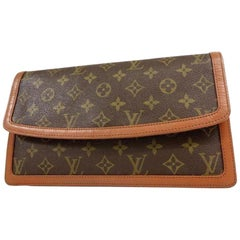 Louis Vuitton Monogram Dame Gm Envelope 233068 Brown Coated Canvas Clutch