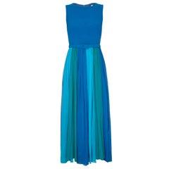 Vintage 1960s Colour Block Blue Silk Chiffon Maxi Dress With Matching Belt