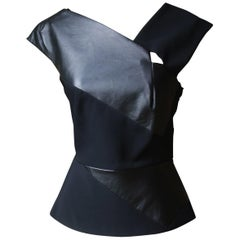 Roland Mouret Leather and Jersey Top