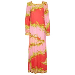 Emilio Pucci 1960s / 1970s Silk Blend Tropical Print Lounge Dress