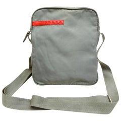 d942bd02e9d2 Prada Sports Tessuto Vela Mini Messenger 232179 Grey Nylon Cross Body Bag