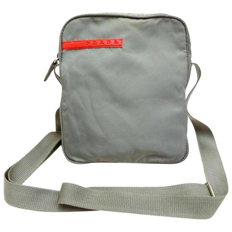 3adb44150506 Prada Sports Tessuto Vela Mini Messenger 232179 Grey Nylon Cross Body Bag  For Sale