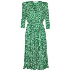 Christian Dior Patron Label Demi Couture 1980s Green Silk Crossover Dress