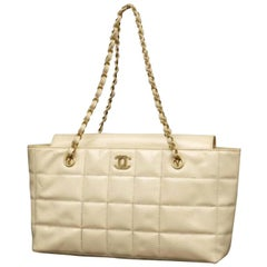 Chanel Quilted Chocolate Bar Chain 231369 Ivory Patent Leather Tote