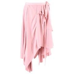 Erika Cavallini Pale Pink Asymmetric Ruffled Skirt US 8