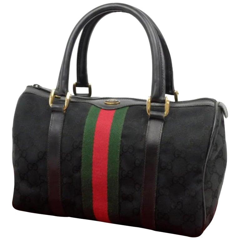 0bcd22b55b76e7 Gucci Boston Sherry Monogram Web 229819 Black Canvas Satchel For Sale