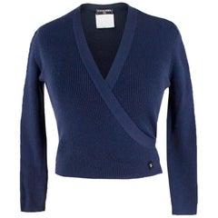 Chanel Navy Silk-Knit Wrap Cardigan US 6