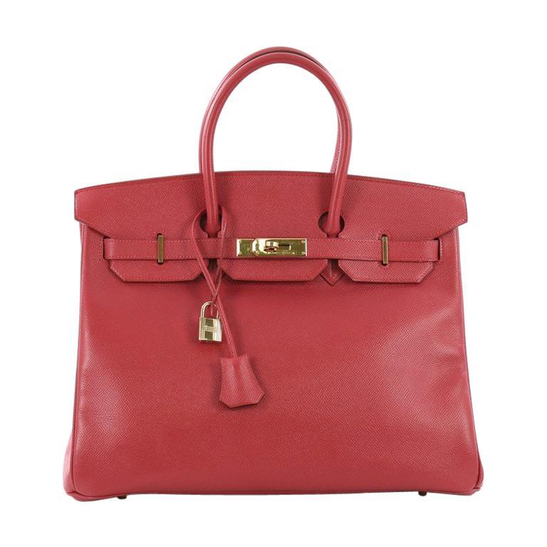 ad223f873511 Hermes Birkin Handbag Rouge Vif Courchevel With Gold Hardware 35 For Sale  at 1stdibs
