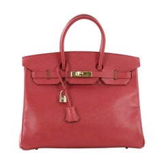 Hermes Birkin Handbag Rouge Vif Courchevel With Gold Hardware 35