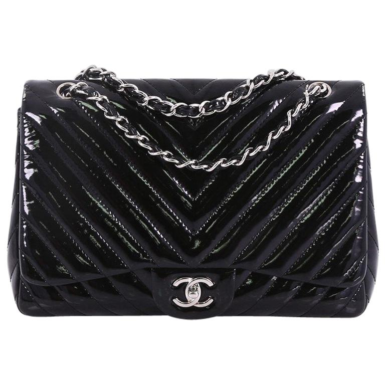 8a06768f57c9 Chanel Classic Single Flap Bag Chevron Patent Jumbo For Sale at 1stdibs