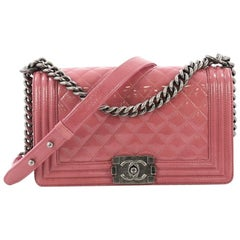 Chanel Boy Flap Bag Quilted Crinkled Patent Old Medium